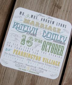 Western Typography Wedding Invitation Sample Set via Etsy