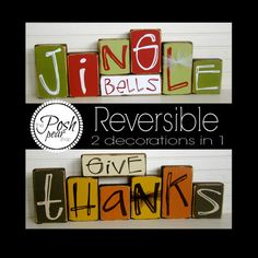 Give Thanks / Jingle Bells Reversible Double Sided Blocks Set 2 Decorations in 1 Fall Decorations Christmas Decorations