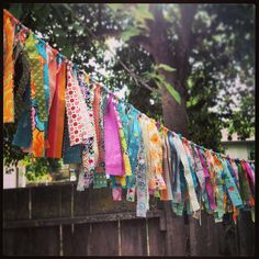 IMG_3953 by Chirp! by roz, via Flickr  fabric garland garden party decor