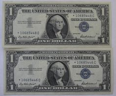 (2) 1957 STAR Silver Certificate Notes Crisp and Uncirculated