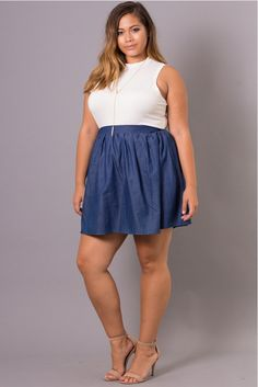 This plus size denim mini skirt features all-over pleating and elasticized waist band. Made in the USA Content + Care - Cotton 35 Polyester - Machine wash cold Model Measurement - Wearing a Size - Height: - Bust: - Waist: - Hip: - Inseam: Plus Size Mini Skirts, Dress Plus Size, Trendy Plus Size Clothing, Plus Size Outfits, Plus Size Fashion, Fall College Outfits, Summer Outfits, Summer Dresses, Plaid Mini Skirt