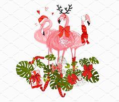 Tropic Christmas Flamingo Vector Set by Sopelkin on Christmas Flamingo, Tropical Christmas, Christmas Cats, Christmas Print, Flamingo Vector, Flamingo Art, Pink Flamingos, California Christmas, Flamingo Wallpaper