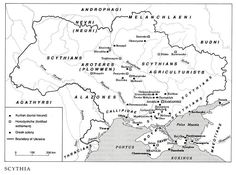 Scythia. Scythians (скити, скіфи; skyty, skify). A group of Indo-European tribes that controlled the steppe of Southern Ukraine in the 7th to 3rd centuries BC. According to the most predominant theories, they first appeared there in the late 8th century BC after having been forced out of Central Asia. The Scythians were related to the Sauromatians and spoke an Iranian dialect. Click through to good site.