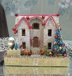 Up-cycled Putz Vintage Christmas House
