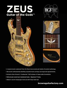 "Zeus ""Guitar of the Gods"" crafted and gilded by Browns Guitar Factory. This is oil gilded using 23K XX Deep Wehrung & Billmeier, and 22.5K Champagne Giusto Manetti gold leaf."