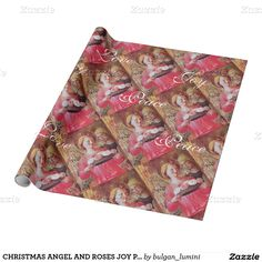 CHRISTMAS ANGEL AND ROSES JOY PEACE LOVE PARCHMENT WRAPPING PAPER