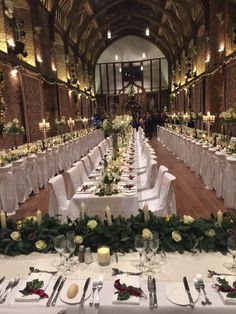 Wedding banquet tables at Hatfield House