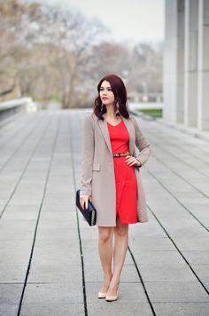 Long beige blazer, red dress