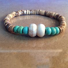 Tan Coconut Beaded Bracelet with White and Blue-Green Magnesite beads by CVioletJewelry