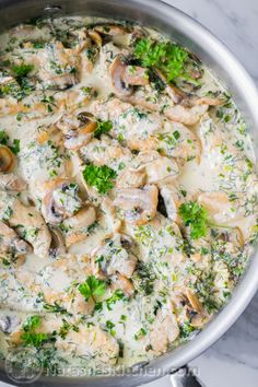 30min creamy chicken and mushroom with herb sauce, over pasta or rice.