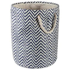 DII Woven Paper Basket or Bin, Collapsible & Convenient Organization & Storage Solution for Your Home (Large Round - - Nautical Blue Chevron Decorative Storage Bins, Fabric Storage Bins, Fabric Bins, Wood Laundry Hamper, Laundry Room, Living Room Toy Storage, Chevron Fabric, Blue Chevron, 1 Piece
