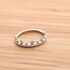 TIARA with crystals ring, in sterling silver....purity ring
