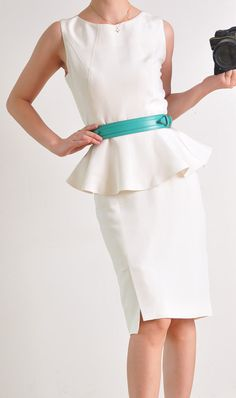 White Silk Peplum Flared Hem Suit Top Sleeveless by yystudio, $199.80