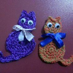 My crocheted cat applique fridge magnet. Thanks to Mary J handmade