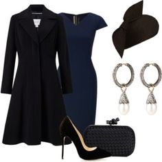 A fashion look from October 2016 featuring blue midi dress, leather-sleeve coats and heel pump. Browse and shop related looks. Classy Business Outfits, Cute Office Outfits, Night Outfits, Business Fashion, Classy Outfits, Chic Outfits, Beautiful Outfits, Trendy Outfits, Fashion Outfits