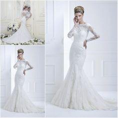 2013 New arrival Elegant Vintage Mermaid lace keyhole back wedding dresses Bridal Gowns long sleeves custom 11368