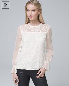 Women's Petite Embroidered Lace Blouse by White House Black Market Lace Blouse Styles, Reversible Dress, Embroidered Blouse, Pretty Outfits, Pretty Clothes, Lace Detail, Blouses For Women, Lace Trim, Designer Dresses