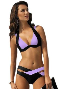 Black Purple Color Patchwork Push up Swimwear https://www.modeshe.com #modeshe @modeshe #AsShown