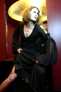 Black silk chiffon gown with Swarovksi embroidery details. Belt with Swarovski details and pleating - Sample size - 422Euros.