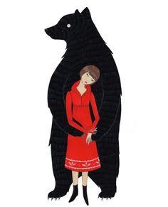 Meg needs this: The Black Bear Print by noraaoyagi on Etsy Le Lou, Bear Illustration, Bear Print, Love Bear, Foto Art, Black Bear, Red Black, Red Riding Hood, Fantasy Art