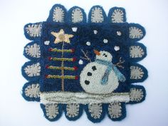 Primitive Punch Needle Snowman Penny rug