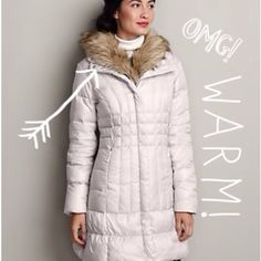 Eddie Bauer Jackets & Coats - Eddie Bauer Resort Goose Down Parka - Really like the smaller pattern around the waist to give some figure to the coat, but not sure what's going on with the fur being on the inside of the coat? I have enough hair in my face from me own head!