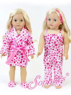 Perfect for sleep overs or lounging around on the weekends, this 4 piece pajama set is a great value. The wrap bathrobe with pink waist tie can be worn over the tank style top and elastic waist bottom