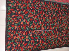 Boxing Day Sale/Bespoke Black Floral Wall Hanging/Embroidered Woolen Rug/Red Rectangular/Square/Circular/Oval/5x3 feet/2 feet/6x4/7x5 feet