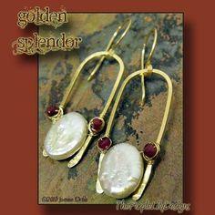 Golden Splendor, 14K Gold Filled, Ruby, and Pearl earrings, ThePurpleLilyDesigns on Etsy, $110.00