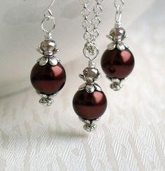 Chocolate Brown Pearl Bridesmaid jewelry set by LaurinWedding, $14.00