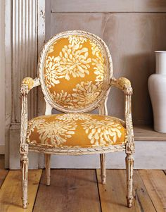 Seacloth chair - this is the whitewashed chair with the mustard colored botanical cloth seats...love it