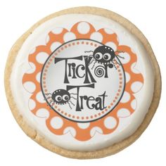 Trick or Treat Spiders Round Shortbread Cookie