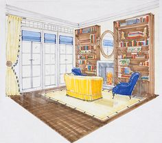 Interior Designers Drawings hand drawn and rendered interior drawingnyc based designer