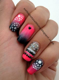 dont really like all the designs on top but i love the fade pattern! especially with the sparkle accent nail