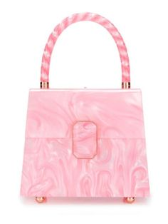 Pink Patti marbled tote bag from Sophia Webster featuring a top handle, a foldover top with clasp closure, a hinged structure, a main internal compartment and a marbled effect. Luxury Purses, Luxury Bags, Sophia Webster, Minis, Lv Bags, Cute Purses, Vintage Purses, Cute Bags, Coral