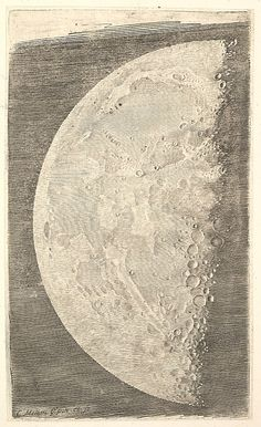 The Moon in its Final Quarter, 1635. Claude Mellan - Engraving