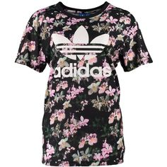 adidas Originals ORCHID BOYFRIEND Print Tshirt (€35) ❤ liked on Polyvore featuring tops, shirts, adidas, black, crew shirt, floral tops, floral shirts, pattern shirt and shirt tops
