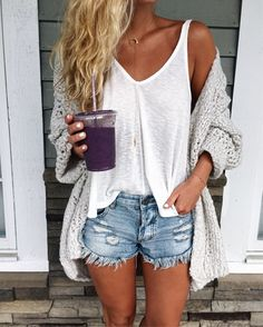 rainy day calls for cozy basics for a smoothie run this AM this is legit my fave smoothie EVER - and it's called the caveman #ithoughtiwasamermaid // this is the tank I shared on stories for $20 & im in LOVE with this new cozy summer cardi! details @liketoknow.it http://liketk.it/2rWXz #liketkit
