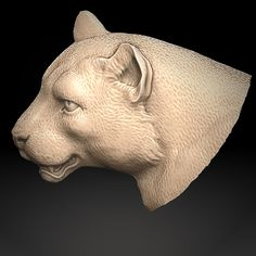 Ivory Panther. 3D model for CNC milling machine. ArtCam, ZBrush. Private order.