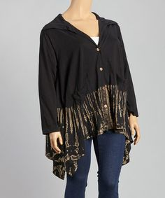 Look what I found on #zulily! Black & Beige Tie-Dye Hooded Cardigan by Windcircle #zulilyfinds