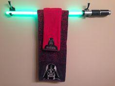 Trendy Mom Reviews: Star Wars Bathroom Makeover with a DIY Light Saber Towel Bar Tutorial