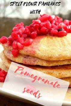 Homemade pancakes recipe with spelt flour and pomegranate seeds – Broccoli&Pizza No Flour Pancakes, Spelt Flour, Pizza And More, How To Make Pizza, Broccoli Pizza, Homemade Pancakes, Pomegranate Seeds, Dairy Free, Meals
