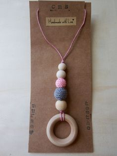 Nursing Necklace, Teething Necklace with Peach & Pink Crochet Beads, Wood Beads and Wood Teether Ring - pinned by pin4etsy.com