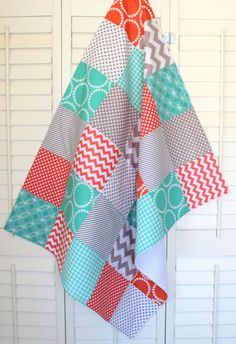 Baby Blanket Unisex Patchwork Baby Blanket by theredpistachio, $58.50