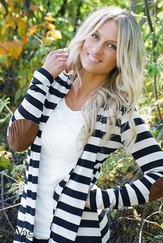 This Elbow Patch Striped Cardigan from NovaeClothing.com = perfect. Plus FREE SHIPPING today! #style #fashion