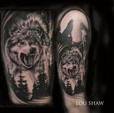 wolftattoo halfsleeve blackandgrey foresttattoo loushaw