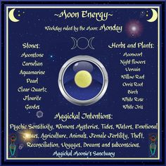 Magick Spells:  #Correspondences ~ MONDAY ~ Moon Energy ~ Magickal Moonie's Sanctuary.