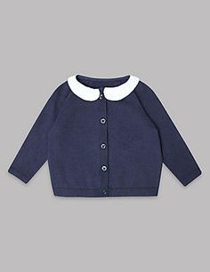 Collared Neck Cardigan with Cashmere