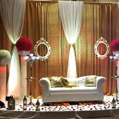 Classic Gold and White with Ornamental frames at Chandni Banquet Hall-Gateway.  Affordable Event Decor by Fairytales Creations and Catering   www.fccdecor.com