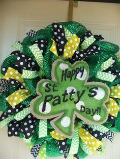 Happy St. Pattys Day St. Patricks Day Burlap Mesh Wreath by TowerDoorDecor, $55.00